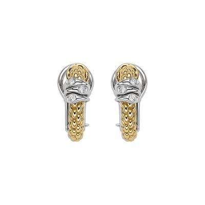 Fope 18ct Yellow & White Gold Flex'It Prima 0.08ct Diamond Earrings